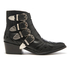 Toga Pulla Women's Buckle Side Mix Leather Heeled Ankle Boots - Black: Image 1