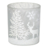 Parlane Winter Forest Glass Tealight Holder - White (8 x 7.5cm): Image 1