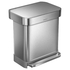 simplehuman Rectangular Brushed Steel Pedal Bin with Liner Pocket 30L: Image 2