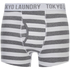 Tokyo Laundry Men's Esterbrooke 2 Pack Striped Boxers - Mid Grey Marl/Optic White: Image 4