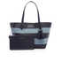 MICHAEL MICHAEL KORS Women's Striped Canvas Large East West Tote Bag - Denim: Image 5