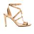 MICHAEL MICHAEL KORS Women's Antoinette Leather Metallic Heeled Sandals - Pale Gold: Image 1