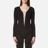 T by Alexander Wang Women's Micro Modal Spandex Lace Up Long Sleeve Bodysuit - Black: Image 1