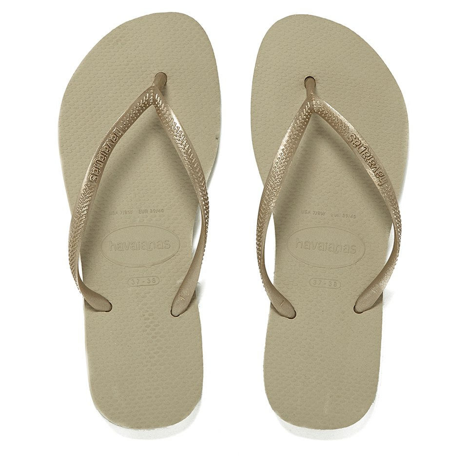 84edaa8286e84 Havaianas Women s Slim Flip Flops - Sand Grey Light Golden Clothing ...