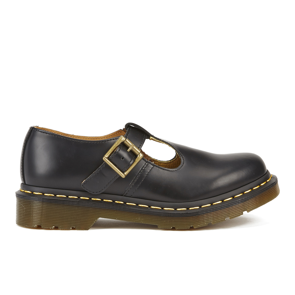 b46d9ad257059a ... Dr. Martens Women s Core Polley Smooth Leather T-Bar Flat Shoes - Black