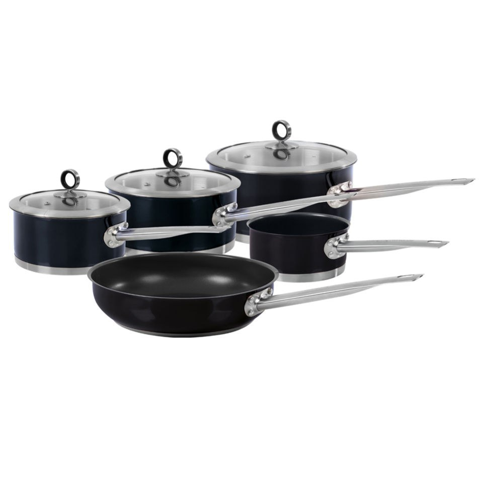 Morphy Richards 46410 5 Piece Pan Set - Black