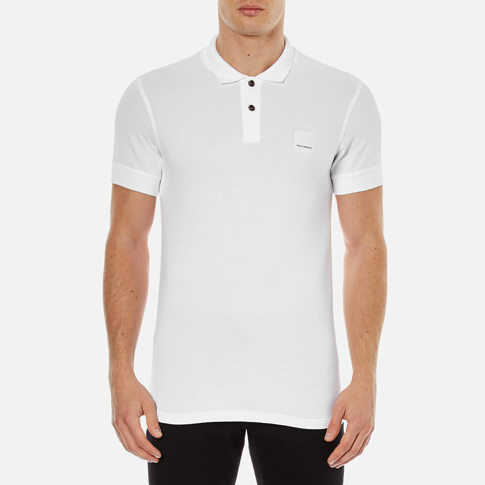 426fbf92eb46 BOSS Orange Men s Pascha Slim Block Branded Polo Shirt - White ...