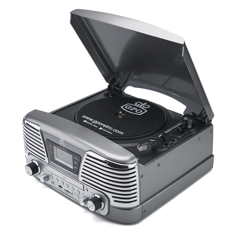 GPO Retro Memphis Turntable 4-in-1 Music System with Built in CD and FM Radio - Silver