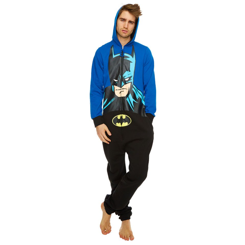 DC Comics Batman Hooded Face Print Onesie - Blue/Black - One Size