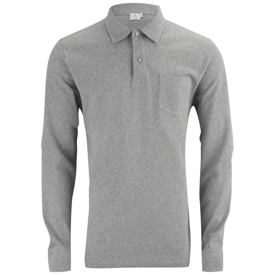 dd3d1b4b Sunspel Men's Long Sleeve Riviera Polo Shirt - Grey Melange - Free ...