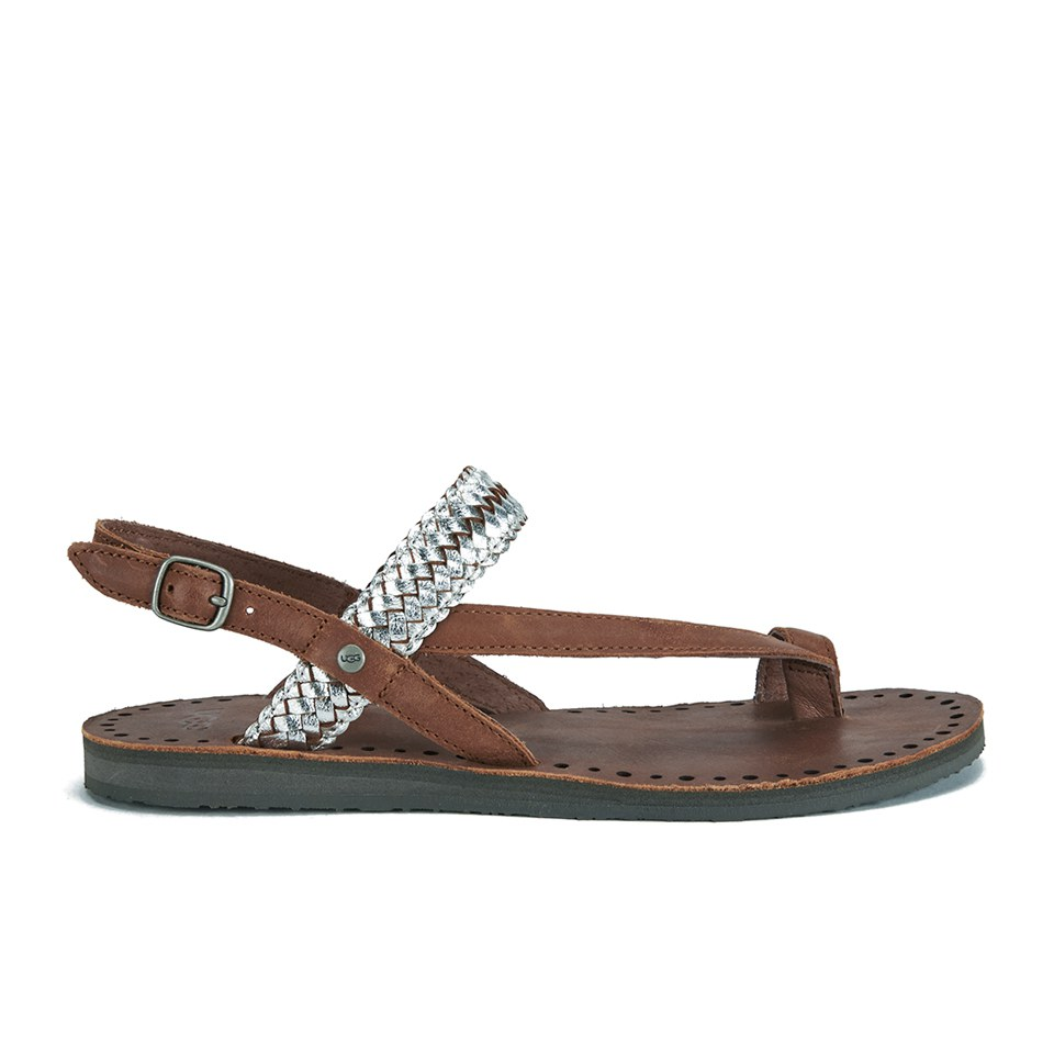 b34c4eb238e UGG Women's Raee Leather Gladiator Sandals - Silver