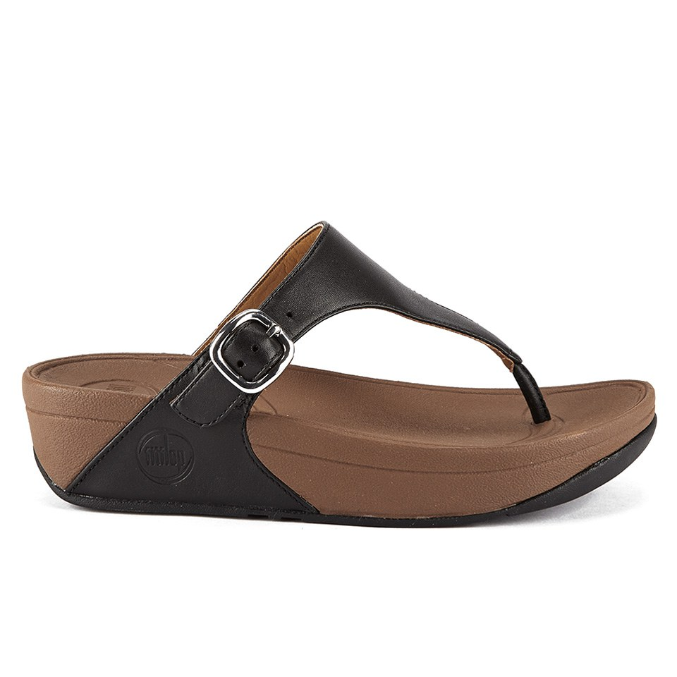 78fd53237c284 ... FitFlop Women's The Skinny Cork Leather Toe Post Sandals - Black