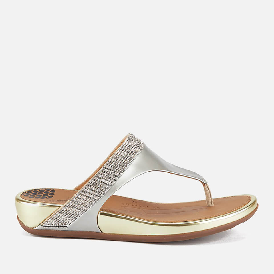 9afcf60b3457d4 FitFlop Women s Banda Micro-Crystal Leather Toe Post Sandals - Pale Gold  Womens Footwear