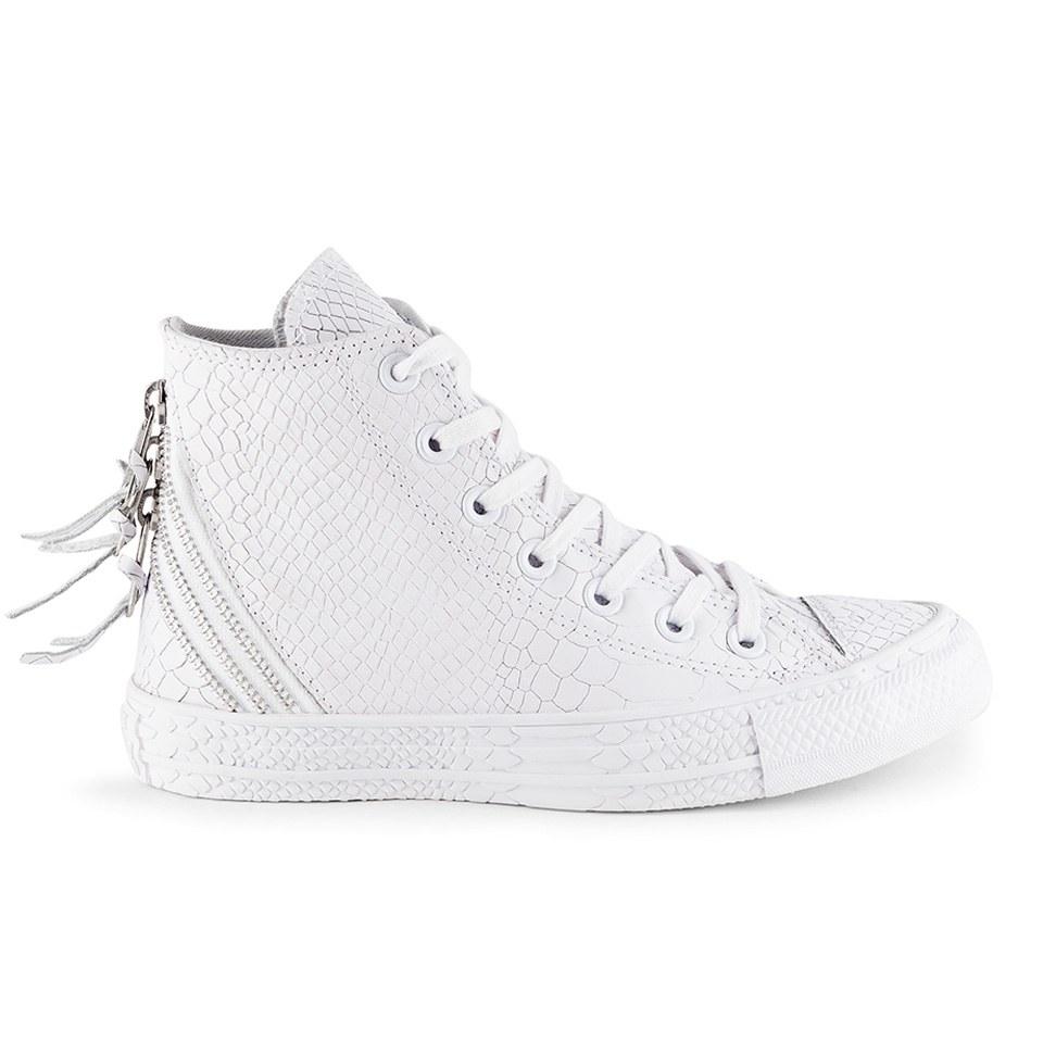 2ecda9b2176cc7 ... Converse Women s Chuck Taylor All Star Leather Tri-Zip Hi-Top Trainers-  White