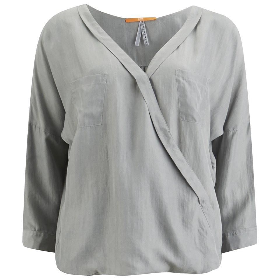39ffbea1c34275 BOSS Orange Women s Euthalia Silk Blouse - Medium Grey - Free UK Delivery  over £50