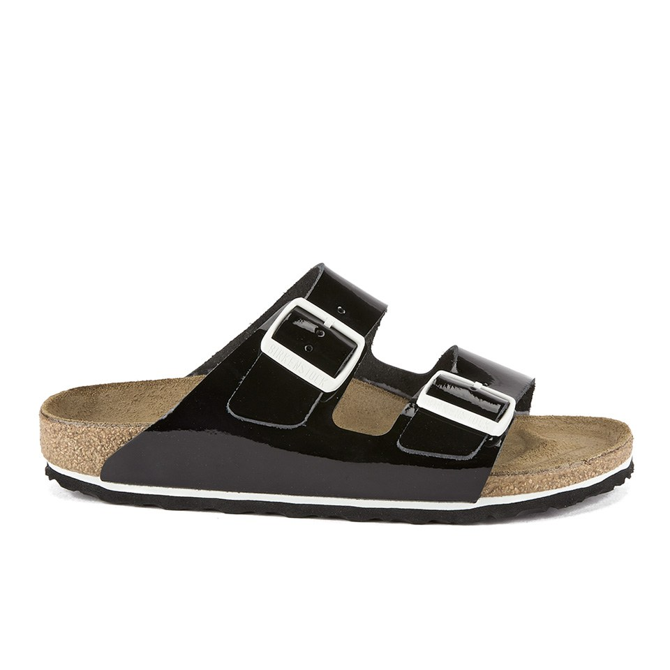 4ed63ee9b872e Birkenstock Women's Arizona Slim Fit Double Strap Patent Leather Sandals - Black  Patent | FREE UK Delivery | Allsole