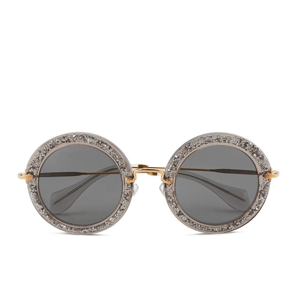 7006c2b4305 Miu Miu Round Women s Sunglasses - Smoke Glitter Silver - Free UK ...