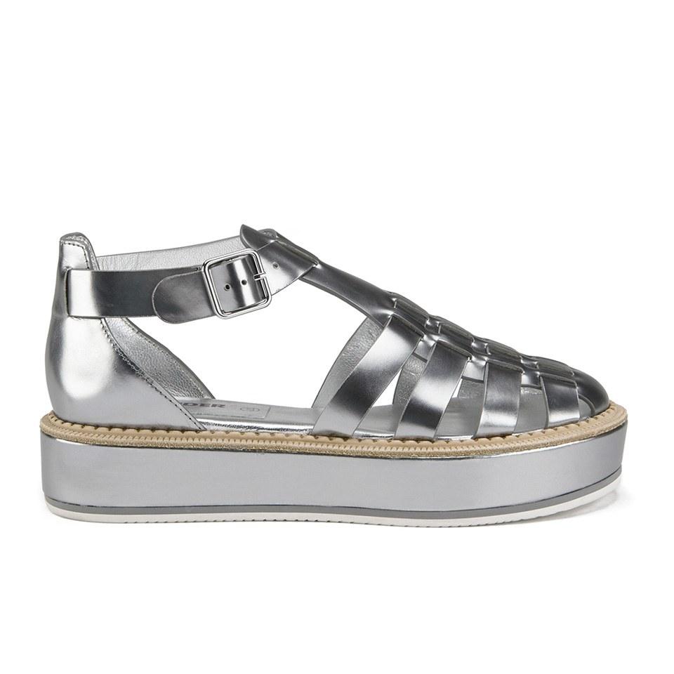 e780999a6c ... Jil Sander Navy Women's Leather Strappy Flatform Sandals - Dark Grey
