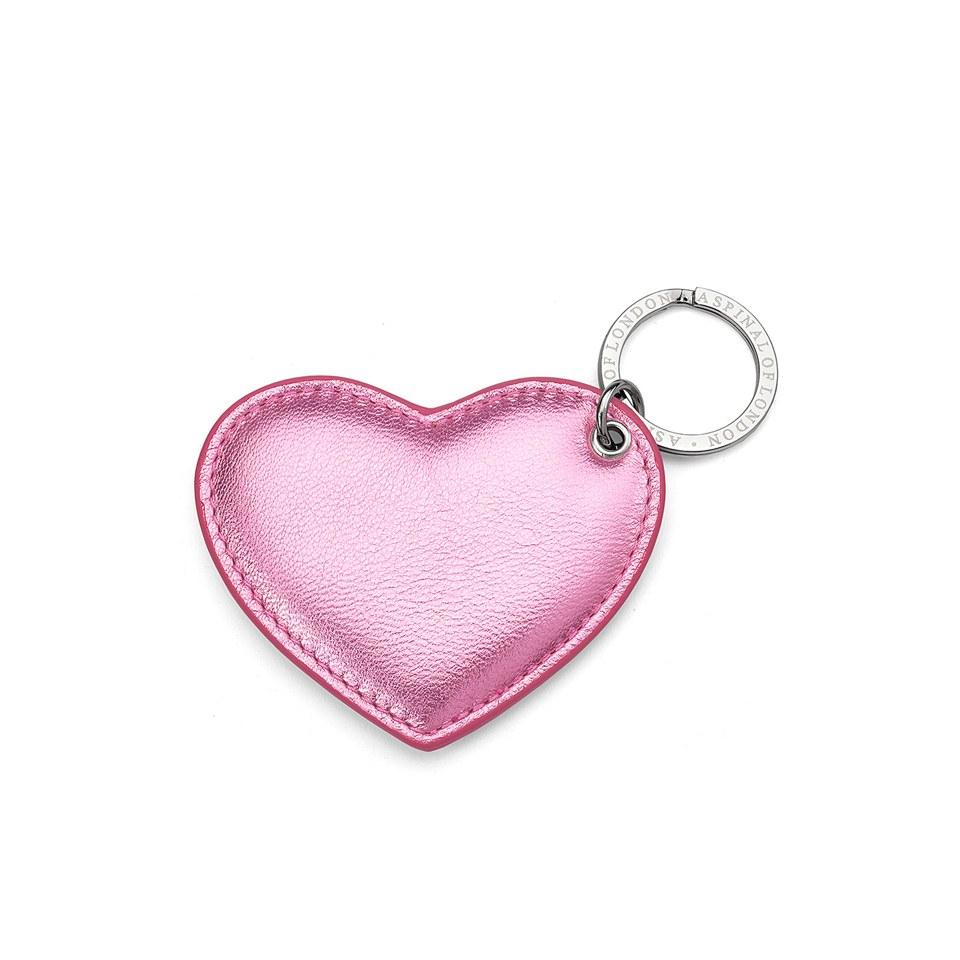 54c6b409ec Aspinal of London Heart Keyring - Metallic Pink Nappa - Free UK ...