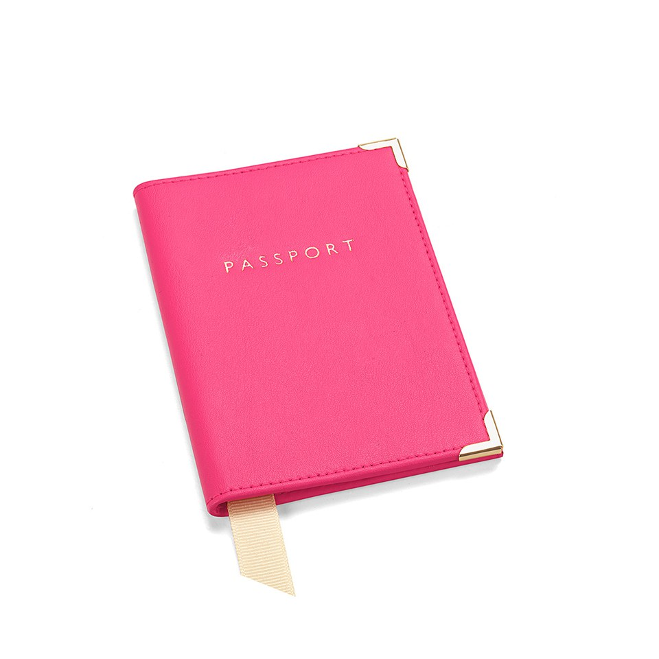 Aspinal of London Passport Cover - Smooth Neon Pink