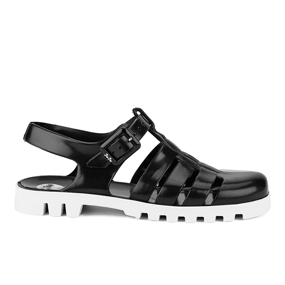 0884e5a15b82 JuJu Women s Maxi Jelly Sandals - Black White - Free UK Delivery ...