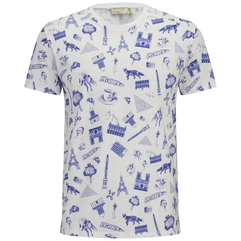 f2b1c0e08 Maison Kitsuné Men's All Over Map Print T-Shirt - White/Navy - Free ...