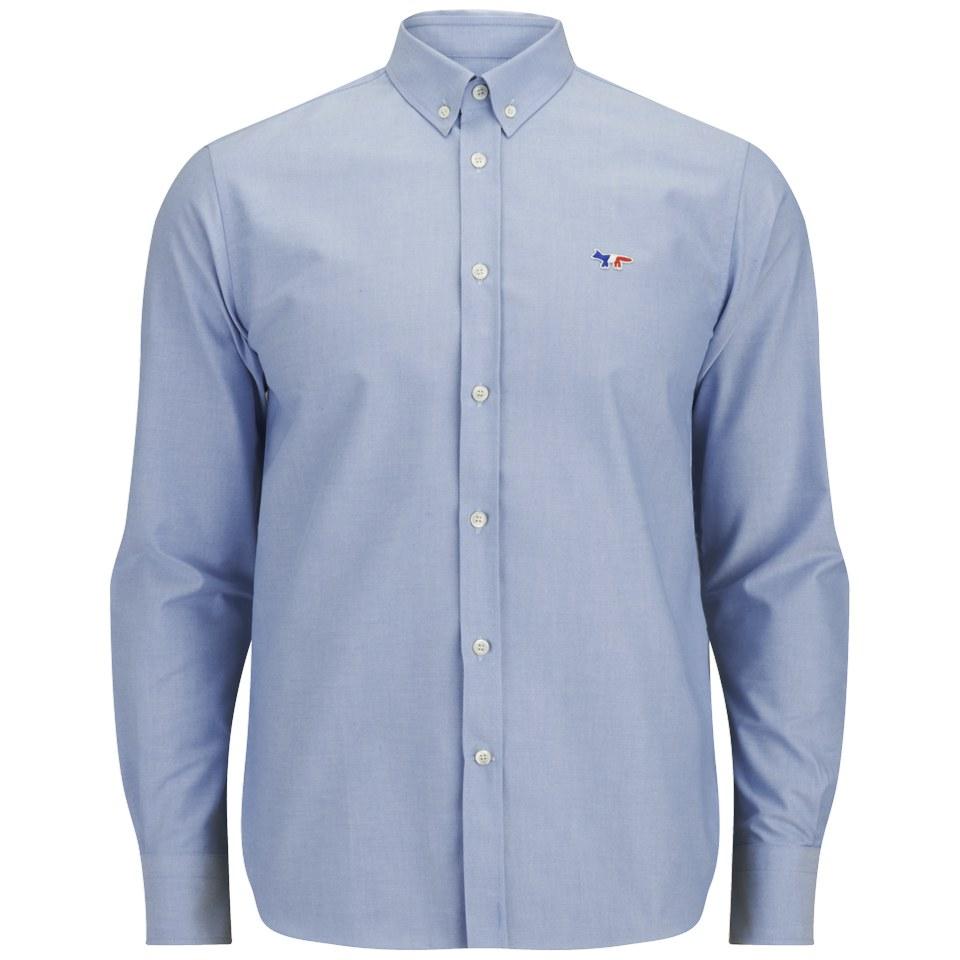 b724099783be Maison Kitsuné Men s Tricolour Patch Long Sleeve Shirt - Blue - Free UK  Delivery over £50