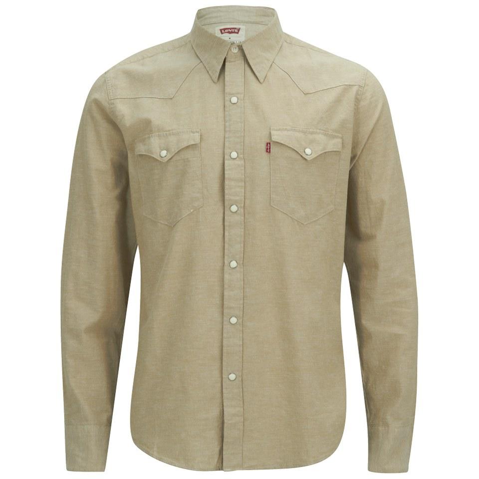 896bdaf3 Levi's Men's Slim Fit Long Sleeve Barstow Western Shirt - Chambray Tan Mens  Clothing | TheHut.com