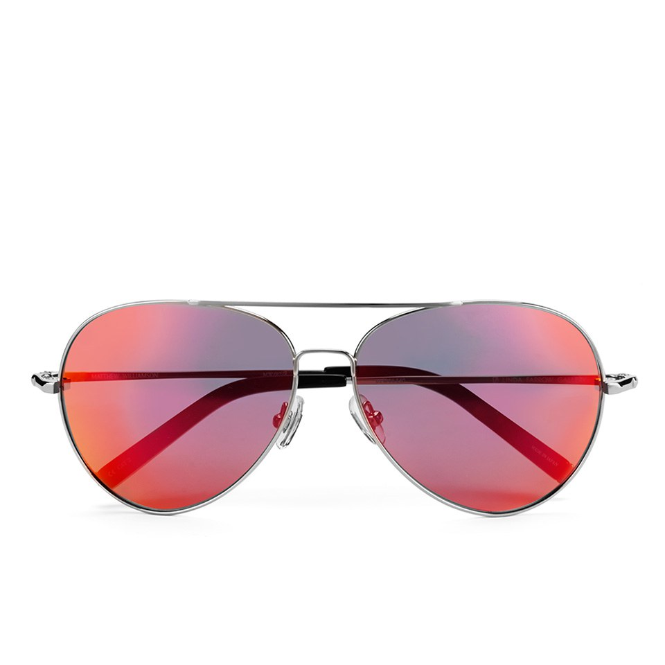 39ff23ca7e2 Matthew Williamson Women s Sun Red Lens Aviator Sunglasses - Black Acetate  - Free UK Delivery over £50