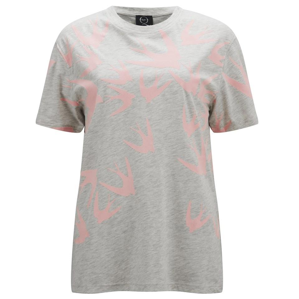 c894eff9 ... McQ Alexander McQueen Women's Boyfriend Swallow Print T-Shirt - Snow  Melange