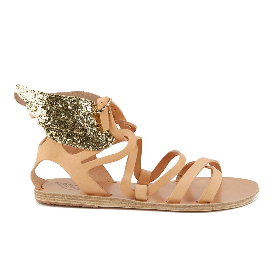 Ancient Greek Sandals Women S Nephele Angel Wing Leather Flat Sandals Platinum