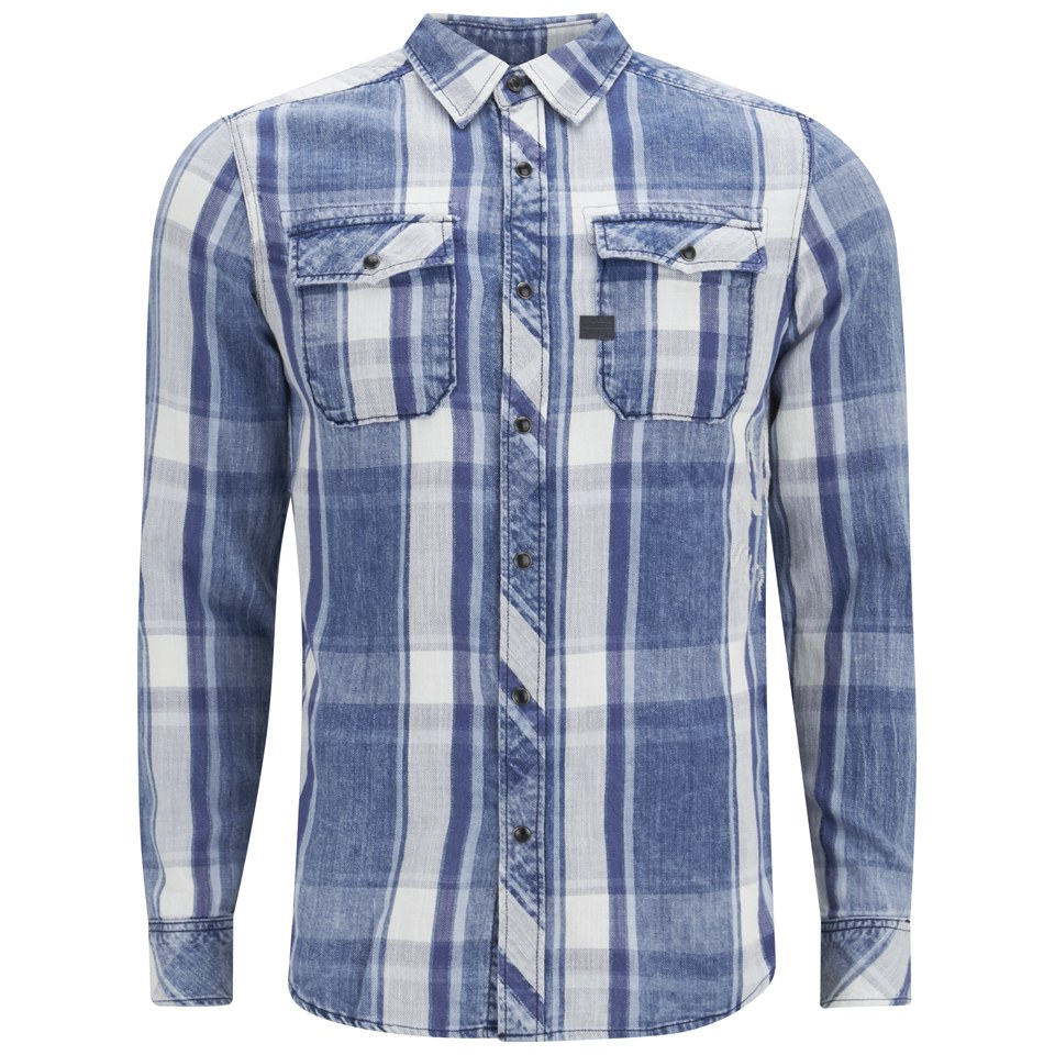 9255c04fd4c G-Star Men's Landoh Long Sleeve Shirt - Rinsed Indigo Turn Check Mens  Clothing | TheHut.com