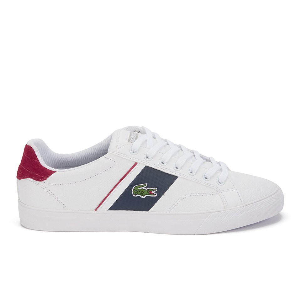 a591273afe1eb ... Lacoste Men s Fairlead URS Tumbled Leather Court Trainers - White Dark  Blue