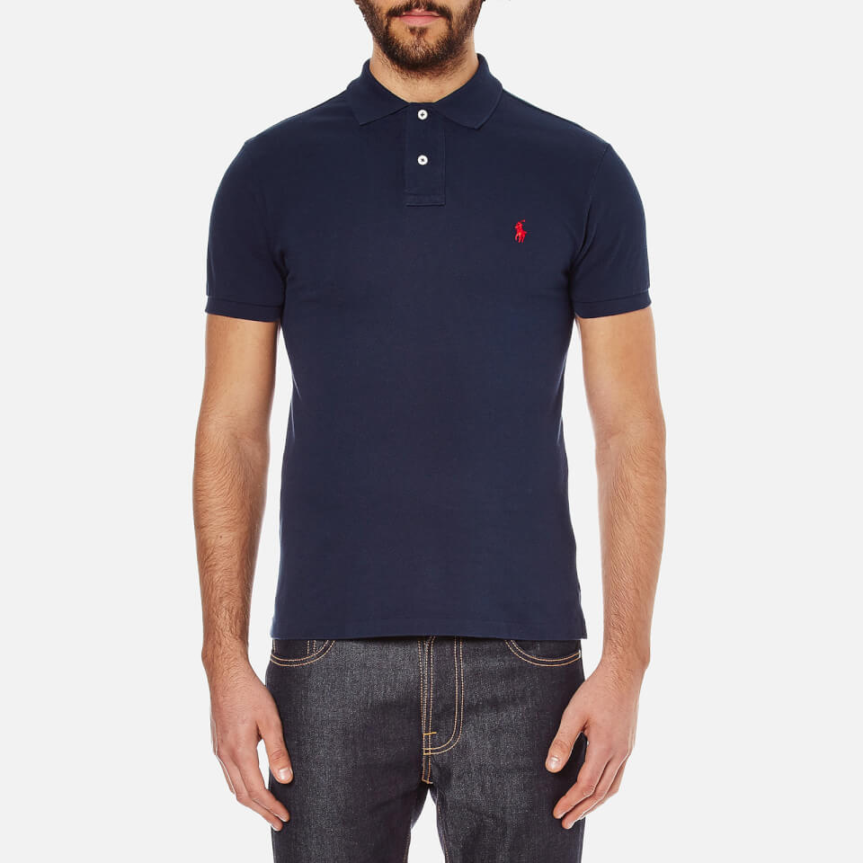 Polo ralph lauren men 39 s slim fit short sleeved polo shirt for Mens slim polo shirts