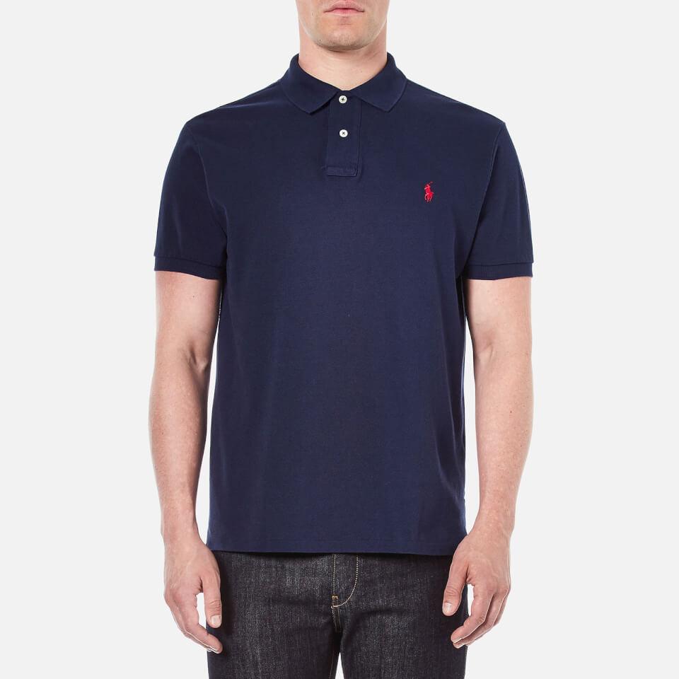 Polo ralph lauren men 39 s custom fit short sleeved polo for Staples custom t shirts