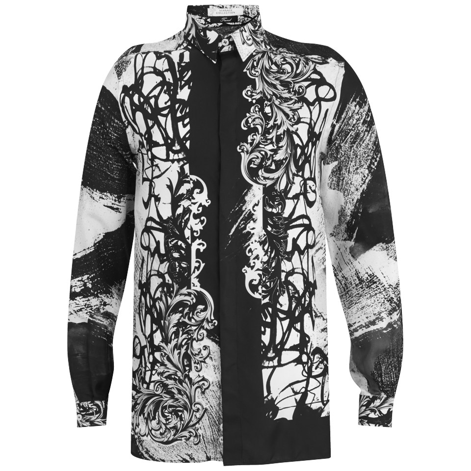 8bea50ab Versace Men's Patterned Long Sleeve Shirt - Black/White - Free UK Delivery  over £50