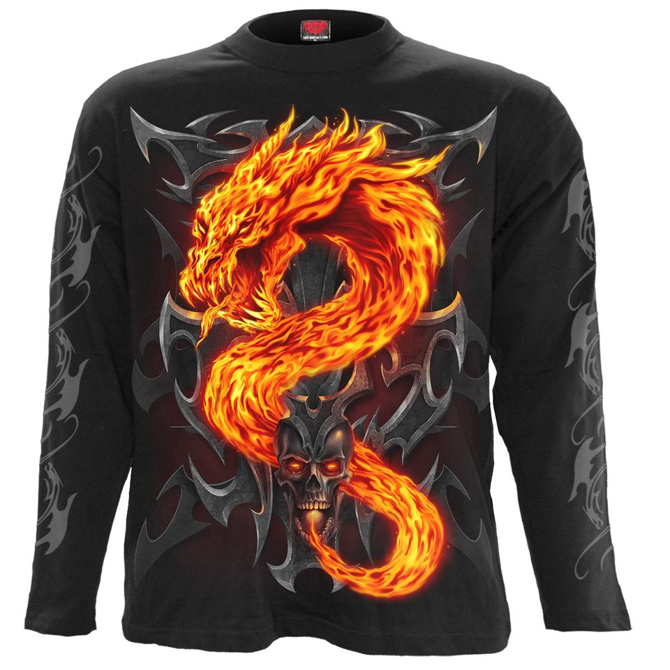 T-Shirt Homme FIRE DRAGON Spiral - Noir