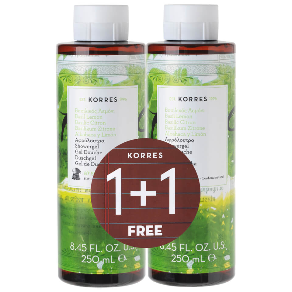 bath shower body wash skincare lookfantastic korres limited edition 1 1 basil lemon shower gel 250ml worth 16 00