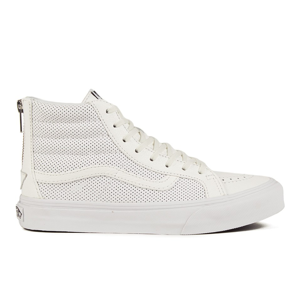 ... Vans Women s SK8-Hi Slim Zip Perforated Leather Hi-Top Trainers - True  White 98483d4a8