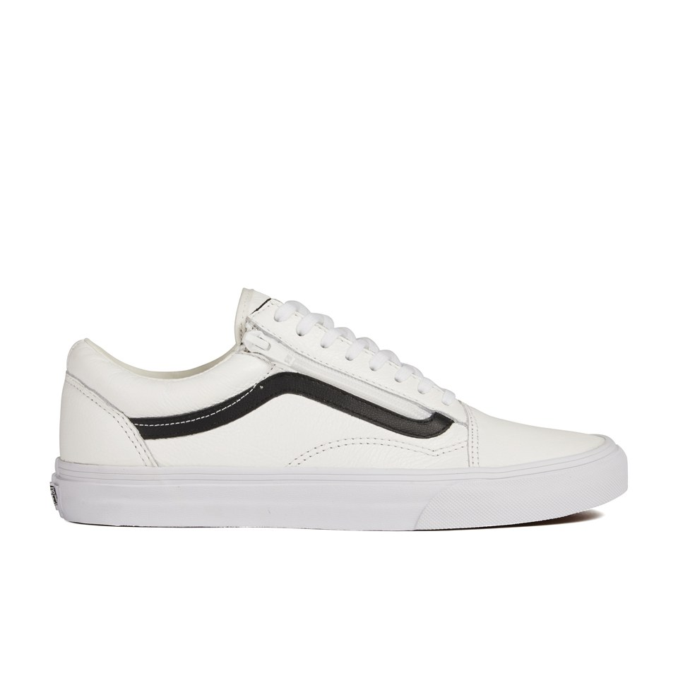 951dd62c1 Vans Men s Old Skool Zip Premium Leather Trainers - True White Mens  Footwear