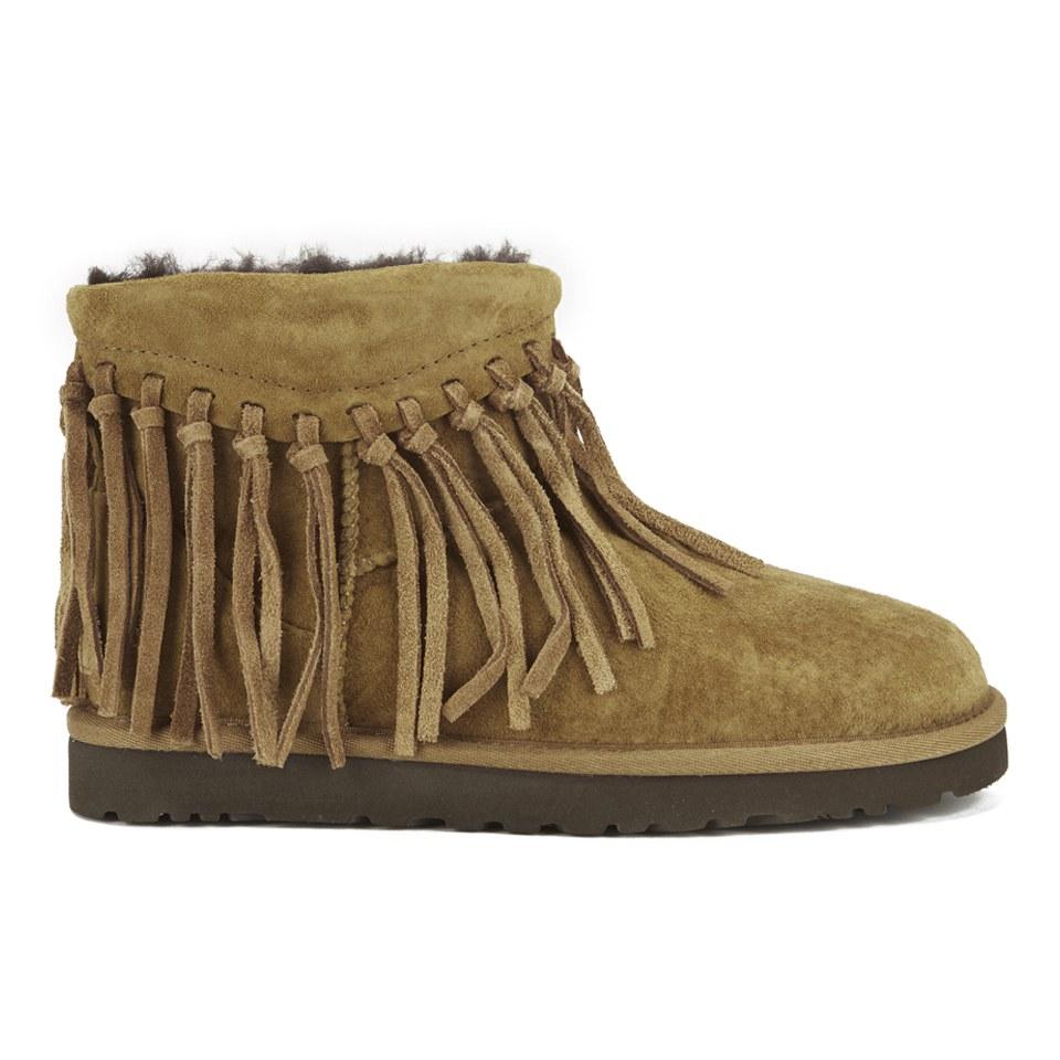 d4d9d687576 UGG Women's Wynona Fringe Sheepskin Ankle Boots - Chestnut