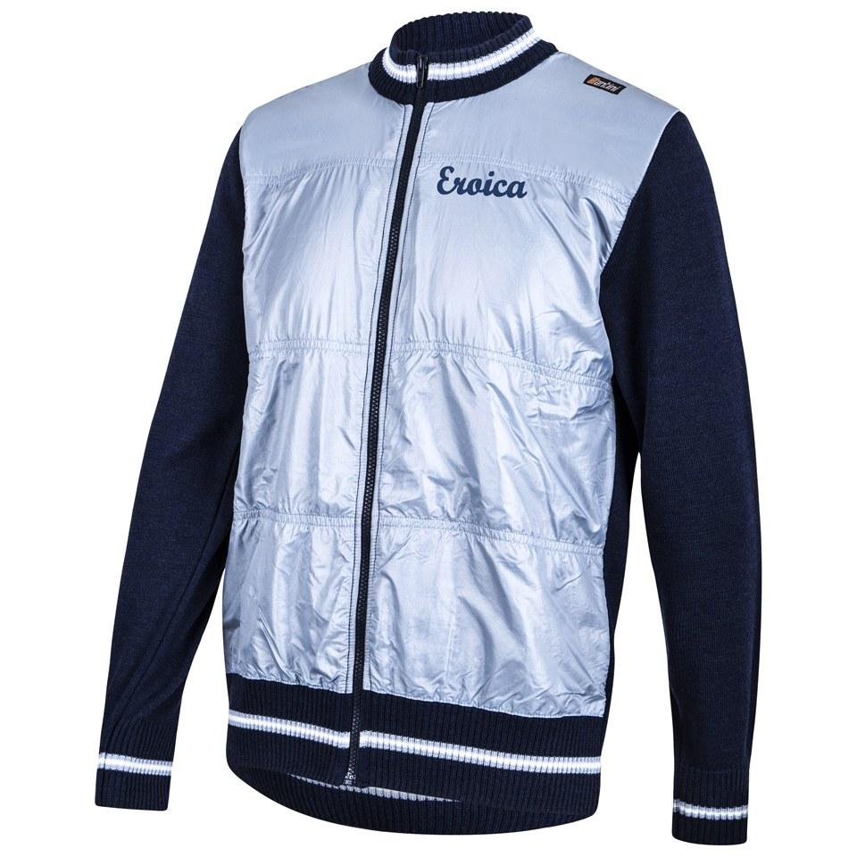 ffcfd5b1f Santini Eroica Wool Zip Fastening Windproof Front 2015 Heritage Series  Sweater - Blue