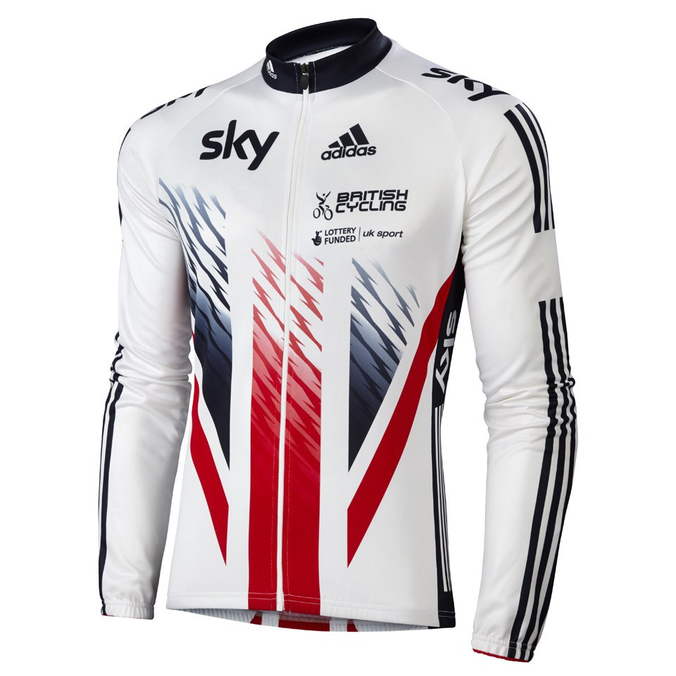 adidas British Cycling Team Race Long Sleeve Jersey 2015 - Blue White Red  927fa301b