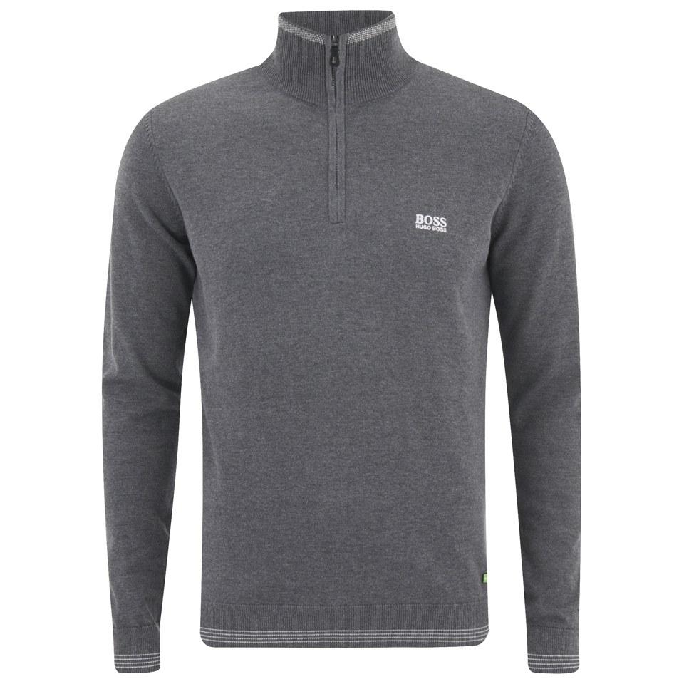 596df4cbabd BOSS Green Men's Zime 3/4 Zip Chest Logo Knitted Jumper - Grey Melange