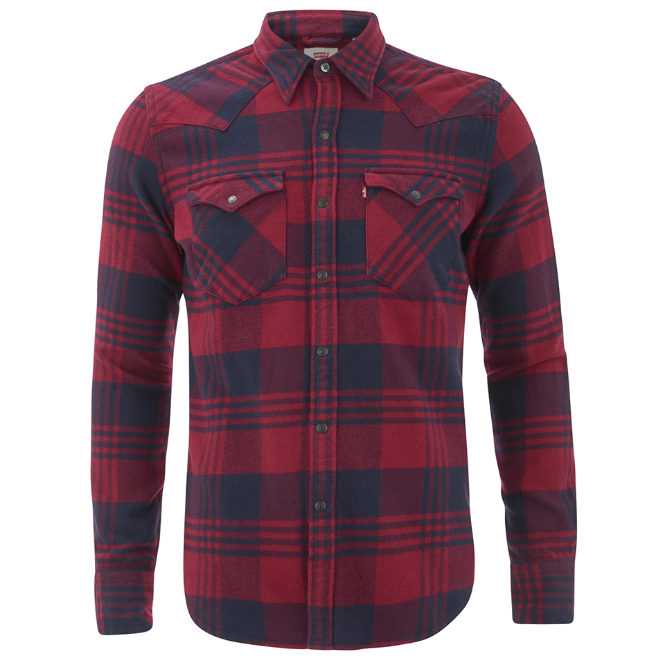 ebb832f708 Levi s Men s Barstow Western Checked Shirt - Tibetan Red Mens ...