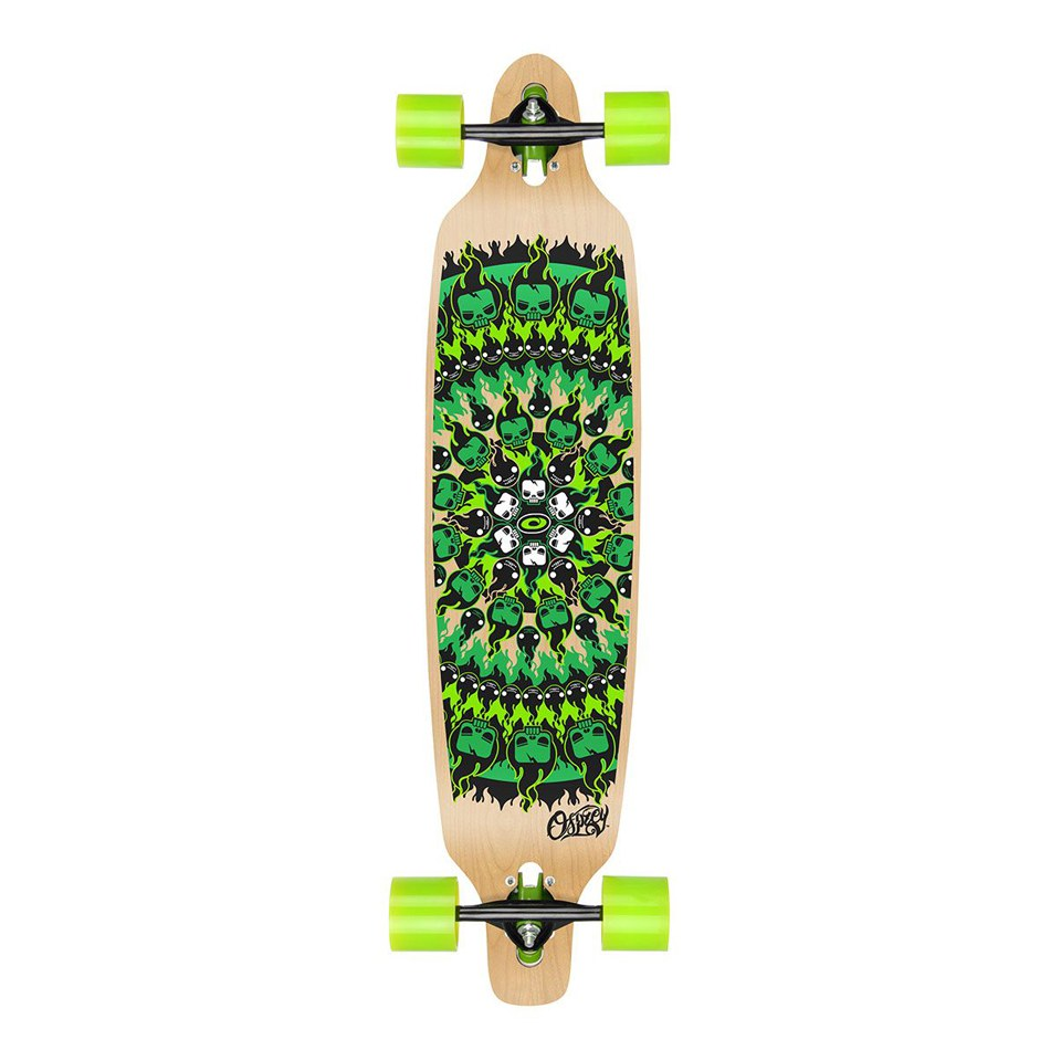 Flame Skull Green Osprey 39in Complete Skateboard Twin Tip Longboard//Cruiser