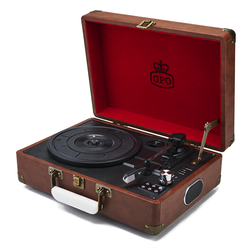 GPO Retro Attache Briefcase Style Three-Speed Portable Vinyl Turntable with Free USB Stick and Built-In Speakers - Vintage Brown