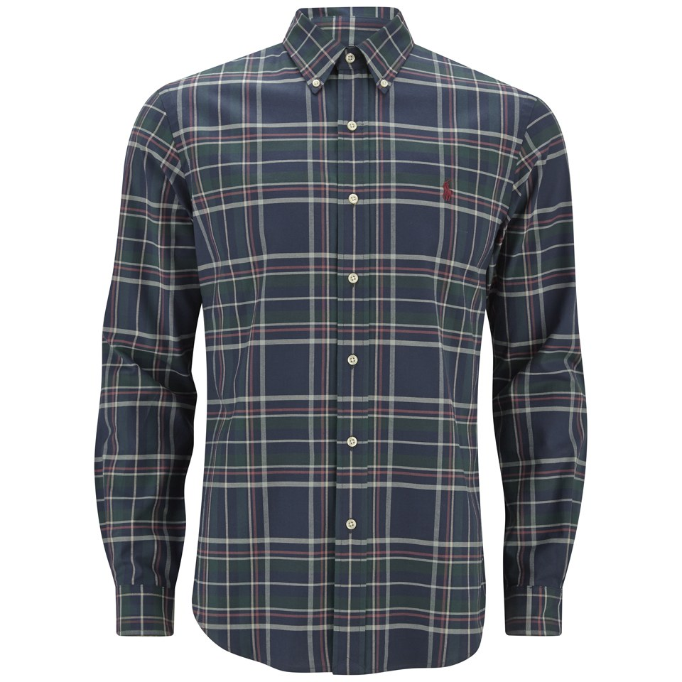 5433a2293 Polo Ralph Lauren Men's Button Down Checked Shirt - Navy/Hunter Green -  Free UK Delivery over £50