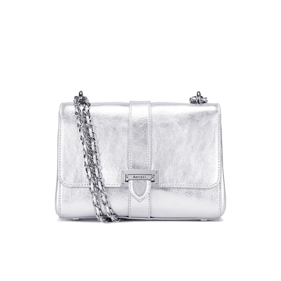 aspinal of london lottie letterbox chain bag silver smooth