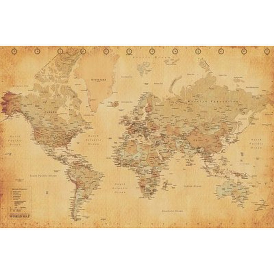 World map vintage style 24 x 36 inches maxi poster merchandise zavvi world map vintage style 24 x 36 inches maxi poster gumiabroncs Images